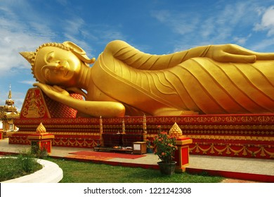 sleeping buddha statue at Pha That Luang temple in Vientiane , Laos