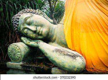 Sleeping Buddha. Temple of Buddha in Buriram, Thailand