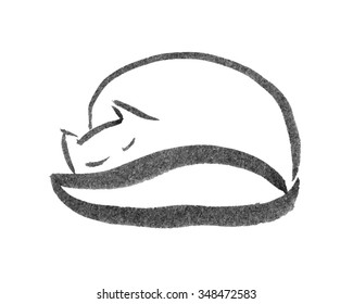 sleeping cat black and white ink sketch