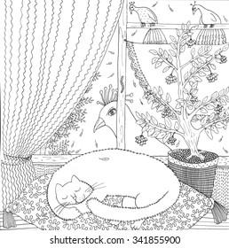 Sleeping cat. Hand drawn illustration.