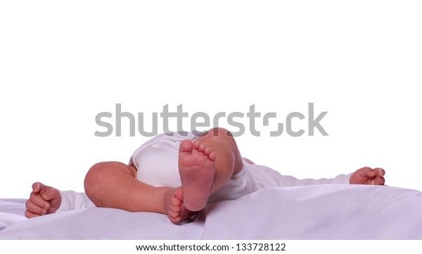 sleeping cute newborn in diaper
