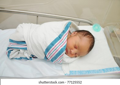 Sleeping Cute Newborn Infant Wrapped in Baby Blanket in Acrylic Hospital Bassinet just after Birth