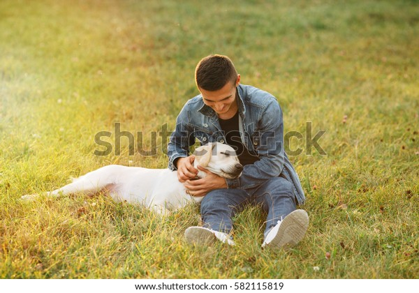 Sleeping dog Labrador and man sitting on grass in park at sunset