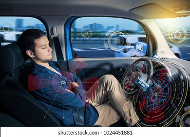 Sleeping driver in autonomous car.