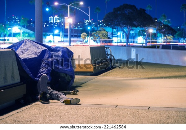 Sleeping Homeless Men in California, United States.
