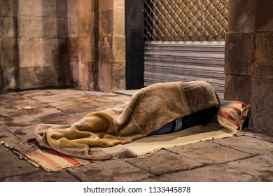 Sleeping homeless in the streets of Barcelona