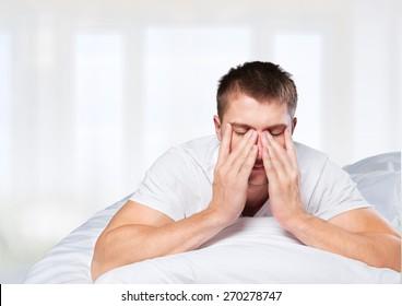Sleeping, insomnia, men.