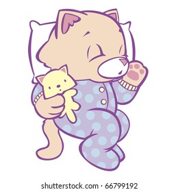 """Sleeping Kitten in Polka Dot Pajamas This image also available as vector art. Please search under """"vector only""""."""