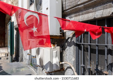 A sleeping long hair calico or tabby cat at the rear of a building near the air conditioning vents as Turkish flags fly and are draped on a line in Istanbul, Turkey.