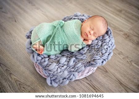 46bf1e130 Sleeping Newborn Baby Basket Infant Lovely Stock Photo (Edit Now ...