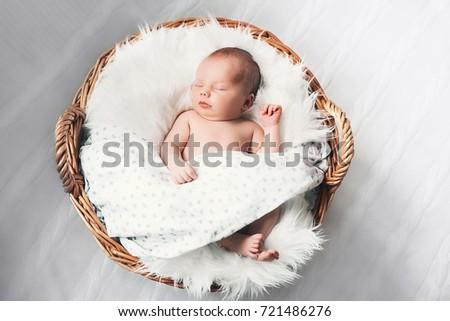 Sleeping Newborn Baby Wrap On White Stock Photo Edit Now 721486276