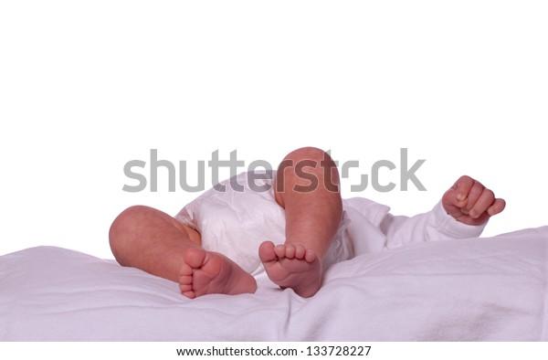sleeping newborn in diaper