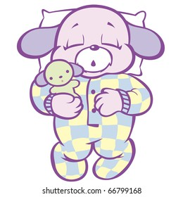 """Sleeping Puppy in Checkered Pajamas This image also available as vector art. Please search under """"vector only""""."""