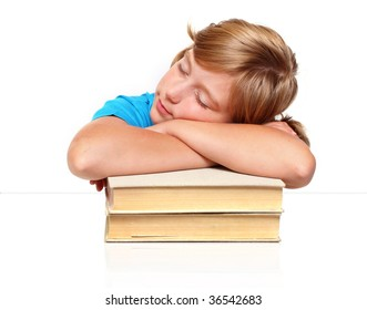 Sleeping student girl after hard studying
