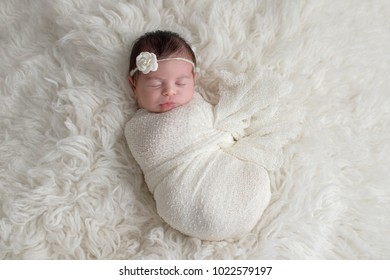 Sleeping, ten day old newborn baby girl swaddled in a white wrap. Shot in the studio on a white sheepskin rug.