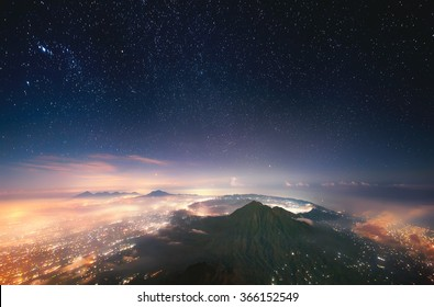Sleeping volcano. Indonesia, Bali, View of Batur volcano (1,717 m) from the peak of Agung (3,142 m).