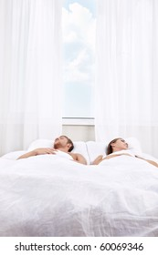 Sleeping young people in the bedroom