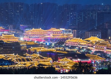 sleepless town at xian, night view of tang dynasty style architecture, China