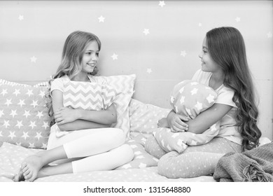 Sleepover time for fun gossip story. Best girls sleepover party ideas. Girls happy best friends sleepover domestic party. Soulmates girls having fun sleepover party. Childhood friendship concept.