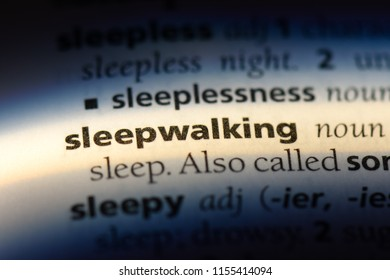 sleepwalking word in a dictionary. sleepwalking concept.