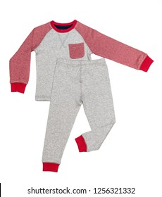 f05394e5bf6e Sleepwear set on white background. Shirt and pants made of gray red blue