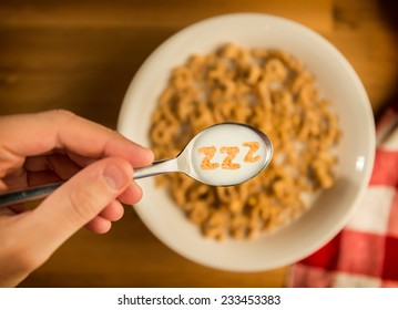 Sleepy Breakfast Cereal with Spoon
