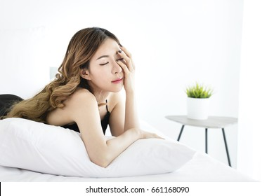 Sleepy Girl Beautiful Asian Woman In Black Sexy Nightwear Sitting In Bedroom Korean Woman