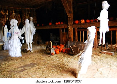 Sleepy Hollow, NY, USA October 17, 2009 A barn is decorated for a Halloween Ghost Dance, in Sleepy Hollow,  New York