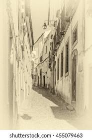 Sleepy street of Evora - Alentejo, Portugal (stylized retro)