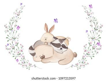 Sleepy teddy bear, bunny and raccoon. Cute watercolor illustration