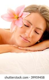 sleepy woman with a flower on her head