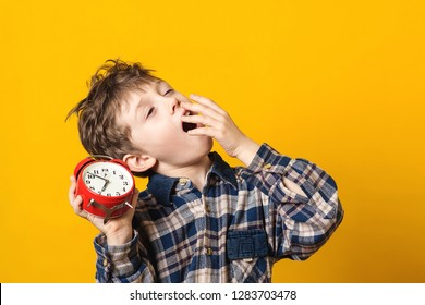 Sleepy and yawning schoolboy with alarm clock on yellow background. Funny boy yawns wide, covering his mouth with hand. Emotion concept. Cute yawning kid. Copy space