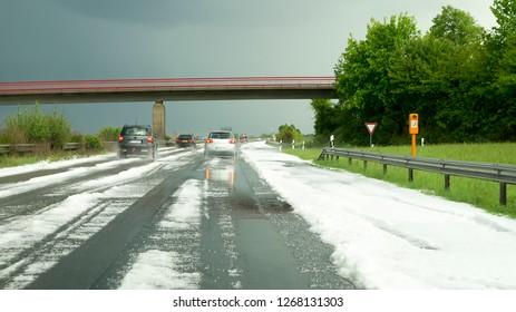 Sleet on freeway