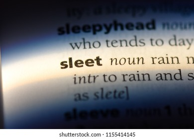 sleet word in a dictionary. sleet concept.