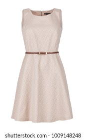 Sleeveless elegant dress with fashionable print, photographed on ghost mannequin with white background. Front view.