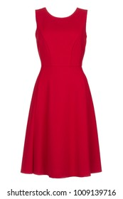 Sleeveless elegant red fashion dress, photographed on ghost mannequin with white background. Front view.