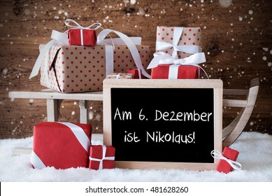 Sleigh With Gifts, Snow, Snowflakes, Nikolaus Means Nicholas Day