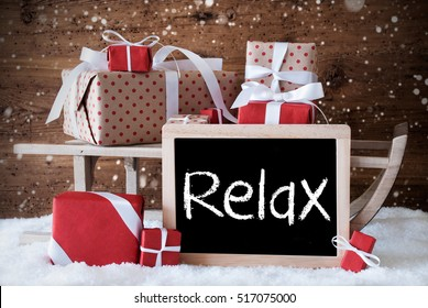 Sleigh With Gifts, Snow, Snowflakes, Text Relax