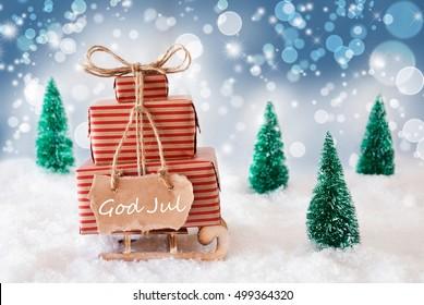 Sleigh On Blue Background, God Jul Means Merry Christmas
