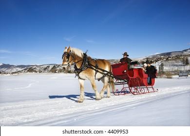 Sleigh ride through winter landscape.