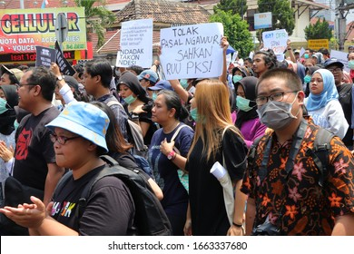 """Sleman, Special Region of Yogyakarta / Indonesia - September 23 2019: a portrait of students from various universities in Yogyakarta and surrounding areas in a mass rally called """"Gejayan Memanggil"""""""