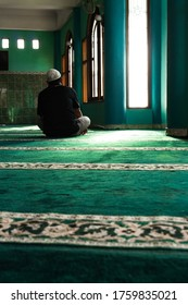 Sleman, Yogyakarta / Indonesia - January 17th 2018 : a man is resting in the Jogokariyan mosque. one of the historic mosques built in 1966