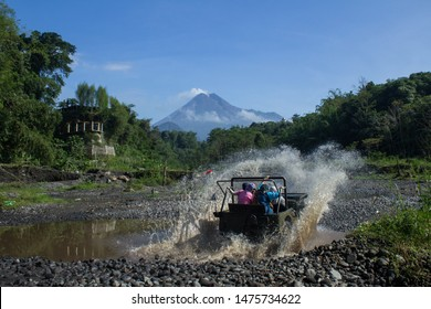 Sleman, Yogyakarta, Indonesia November 11 2018 - Tourists enjoy off road lava tours with views of Mount Merapi in Kalikuning, Sleman Yogyakarta, Indonesia