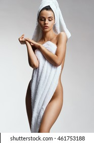 Slender female figure with perfect skin after spa. Wellness and Spa concept
