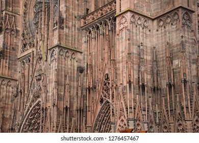 Slender Gothic columns of  the Cathedral in Strasbourg, France