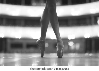 Slender legs of a ballerina in brilliant pointe at the theater stage
