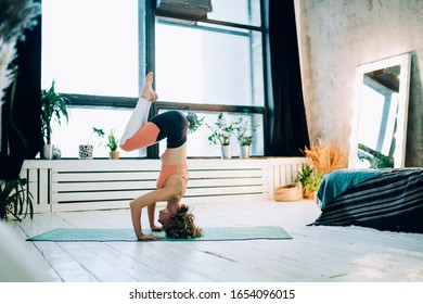 Slender woman in sportswear exercising yoga asana on green mat in tripod headstand with knees on elbows in modern room at home