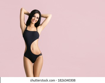 Slender and young girl with beautiful and fit body. Woman in swimsuit.