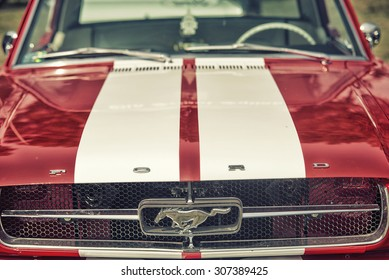 Sleza, Poland, August 15, 2015: Close up on Old Vintage Ford Mustang logo on  Motorclassic show on August 15, 2015 in the Poland