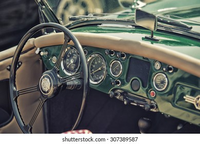 Sleza, Poland, August 15, 2015: Close up on Old Vintage Steering wheel and cockpit  on Motorclassic show on August 15, 2015 in the Poland